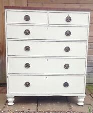 ANTIQUE VICTORIAN CHEST OF 6 DRAWERS MAHOGANY PAINTED SHABBY CHIC.