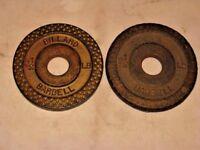2 Rare 2 1/2 Lb BILLARD Gold Color Iron Waffle Dumbbell Barbell Weights Plates