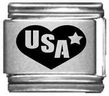 Clearly Charming USA in Heart Laser Italian Charm