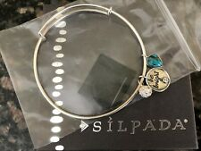 """NWT Silpada Sterling Turquoise """"Be Bright"""" Charms Bracelet B3212 Adjustable"""