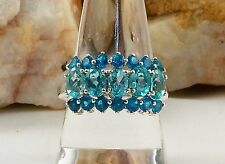 Genuine Paraiba & NEON Apatite Ring 925 Sterling Silver Size 8 TCW 3.65