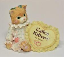 Vintage 1992 Enesco Calico Kittens by Priscilla Hillman Heart Figurine #699179
