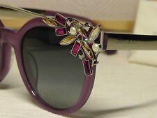 Jimmy Choo Vivy/S Violet /Silver tone Crystal Browbar Frame Sunglasses 51 21 145