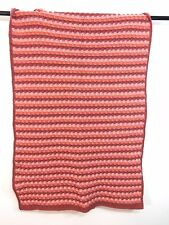 PINK & MAUVE HAND CROCHETED AFGHAN SIZE 39 x 70 SUPER NICE!!