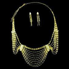 Bollywood Schmuckset Schmuck Ohrringe Kette Strass Gold Bauchtanz jewelry set