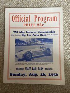 1956 Wisconsin State Fair Park Speedway USAC Indy car  Racing Program