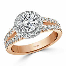 1.70 Ct Round Cut Solitaire Diamond Engagement Ring 14K Real Rose Gold Size N O