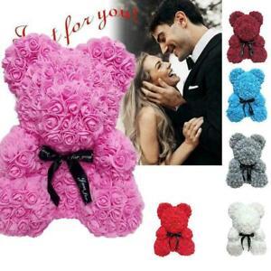 Artificial Rose Teddy Bear Flower Bouquet Valentine Birthday Wedding Gifts W7T3