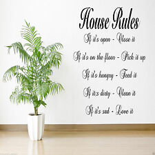 HOUSE RULES Kitchen Lounge Bedroom Hall Quote Decal Sticker WSD492