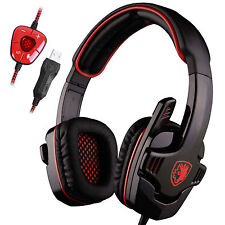 Sades SA-901 USB HiFi 7.1 Surround Pro Gaming Headphone Headset Headband Mic Red