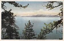 Lake Tahoe And Mountains Thro' The Pines, California 1919 Vintage Postcard