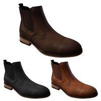Cavani Fox Mens Chelsea Boots Leather Look Slip On Classic Mod Shoes