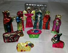 Collectable Handmade, Hand painted Aluminum Flat Nativity Set 10pc