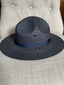 new Stratton 6 3/4 Long Oval Campaign Style Blue Straw Hat S40 Trooper Sheriff