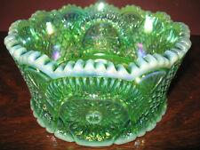 Green Opalescent iridescent Carnival glass serving candy fruit bowl diamond art