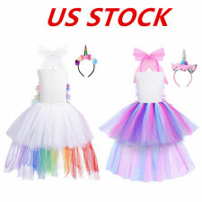 US Girls Rainbow Tutu Dress Hair Hoop Outfits Halloween Party Princess Costumes