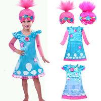 Trolls Poppy Fancy Dress Costume Wigs Kids Girls Holiday Cosplay Party Sets Lot