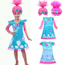 Toddler Kids Girls Wig Trolls Poppy Fancy Dress Costume Cosplay Party Outfits