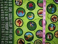 ONE-HALF Yard - Girl Scout Fabric with Badges and Numbers by Robert Kaufman