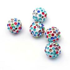 Polymer Clay Disco Ball Beads 12mm Mixed/White 10 Pcs Rhinestone DIY Jewellery