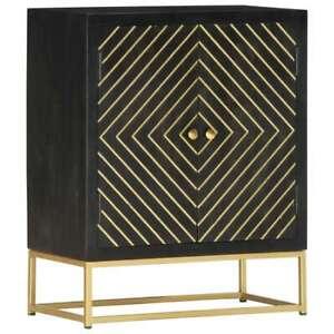 vidaXL Solid Mango Wood Sideboard Black and Gold 60x30x75cm Storage Cabinet
