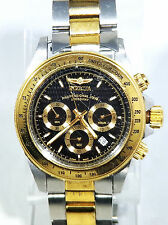 Invicta Professional Speedway Chronograph Two-Tone Black Face Mens Watch 9224