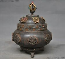 Tibetan Buddhism bronze Painted auspicious eight treasures Incense Burner censer