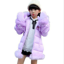 7687 Kids Girls Winter Padded Coat Jacket Fur Collar Outerwear with gloves 3-12Y