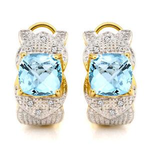 BABY SWISS BLUE TOPAZ & DIAMOND PLATINUM OVER Y 925 STERLING SILVER EARRINGS