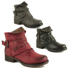 WOMENS MILITARY COMBAT SLOUCH BUCKLE ARMY BIKER LADIES ANKLE BOOTS NEW SIZE 3-8