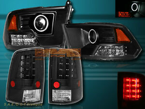 09-12 DODGE RAM 1500 2500 3500 PROJECTOR HEADLIGHTS CCFL HALO + LED TAIL LIGHTS