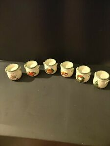 Set of 6 Christmas Holiday Votive Candle Holders. Tree snowman angel wreath bell