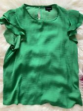 Who What Wear Green Flutter Satin Blouse