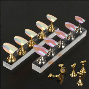 Salon Magnetic Manicure Nail Art Practice Display Stand False Tip Holder Acrylic