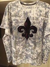 LL Cool J T- Shirt 1984 Made In India White&grey Velvet Flor De Lis 2XL Cotton