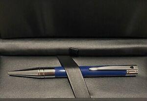NEW ST Dupont D Initial Ballpoint Pen, Brass, Chrome Trim, Blue 265205