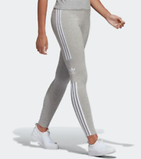 New Women's Adidas Originals Trefoil Leggings (DV2641)  Grey Heather / White