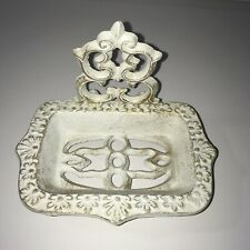 Country farmhouse shabby cottage white cast iron scroll Soap Dish Holder