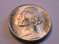 1945-D Jefferson 5C Gem BU Lustrous Silver War Nickel USA Five Cents WWII Coin