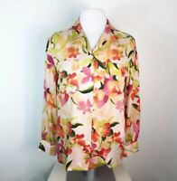 Tommy Bahama Floral Tropical Button Front 100% Silk Blouse Long Sleeve Collar Sz