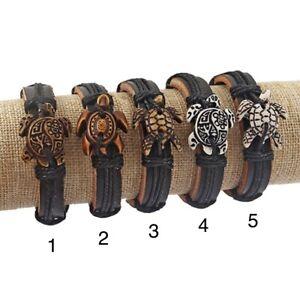 leather bracelet wristband Turtle Tortoise handmade adjustable unisex Fair Trade