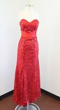 Grace Karin Red Sequin Beaded Strapless Formal Evening Dress Gown Sweetheart 10