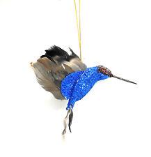 Blue and Black Glittered Hummingbird Christmas Tree Ornament