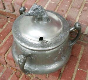 Kayserzinn Pewter Tureen Art Nouveau Boar Finial Brass Relief Game Punch Antique
