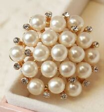 "Crystal Wedding Party Brooch Pin 1.4"" Cream Faux Pearl Diamante Rhinestone"