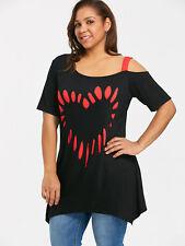 Mujer Talla Grande Nueva estampado de corazones Túnica Camiseta xl-5xl manga