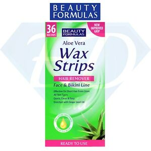 36 X Aloe Vera Wax Strips Bikini Line Face Lip Safe Easy Women Mens Hair Removal