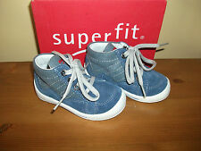 Boys SUPERFIT 41 Blue SUEDE/Canvas Lace Up Trainer/Boot  UK 4 Eur 20 NEW!