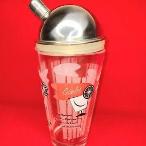 Vintage Recipe Cocktail Shaker Glass Retro