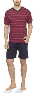 Herren Schlafanzug kurz Shorty V-Auschnitt und Streifen-Design 100% Baumwolle